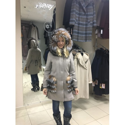 Пальто из альпаки с мехом delcorse Италия бу