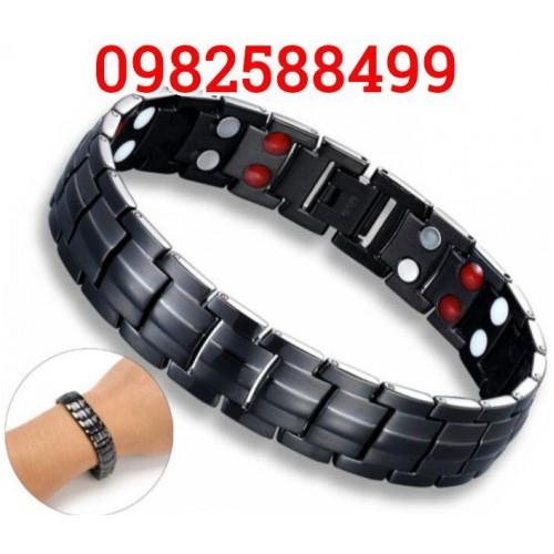 Титановый Магнитный браслет Черный 4В1