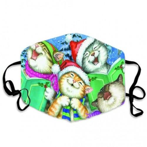 Многоразовая турмалиновая защитная маска для лица Рождество Веселые Кошки