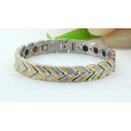Турмалиновый браслет с магнитами серебром и золотом