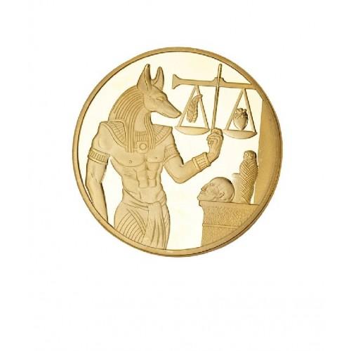 Монета в кошелек Египетский бог Анубис золотой для денег
