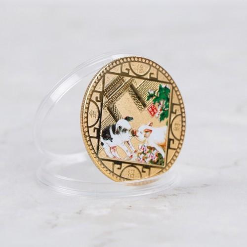 Коллекционная Китайская монета счастья Свинья