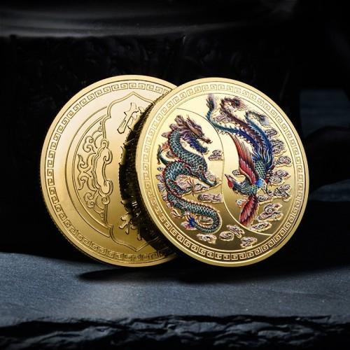 Монета Дракон и Феникс Инь и Ян