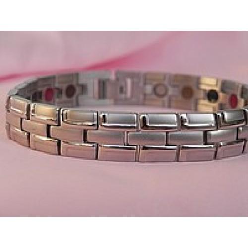 Турмалиновый магнитный браслет с титаном узкий серебро 4В1 Вековой Восток